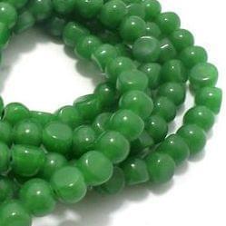 1 String Glass Half Round Beads Green 9 mm