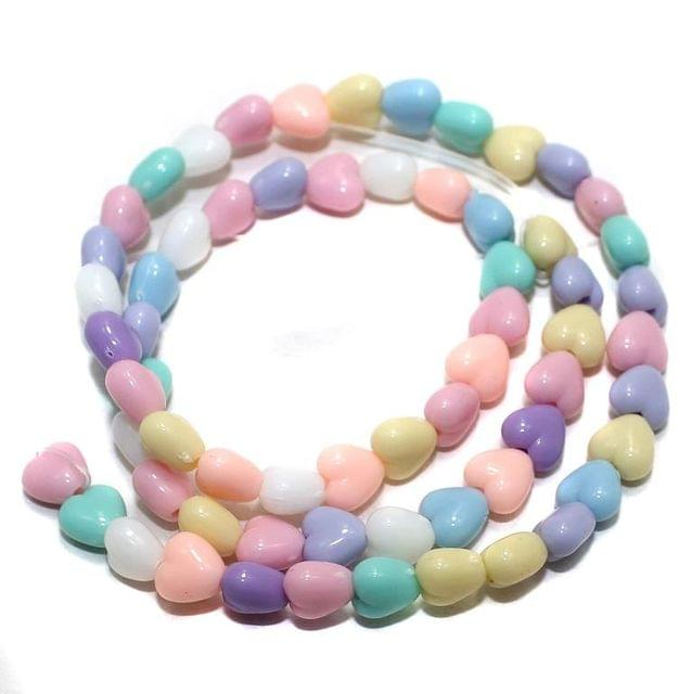 120+ Acrylic Heart Beads Assorted 7mm