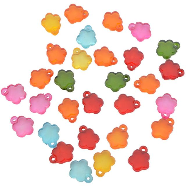 Buy 1 Get 1 Pack Free Multi-coloured Floral Translucent Acrylic Beads