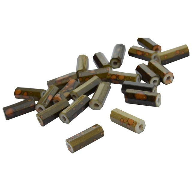 Cylindrical Khaki Printed Acrylic Beads