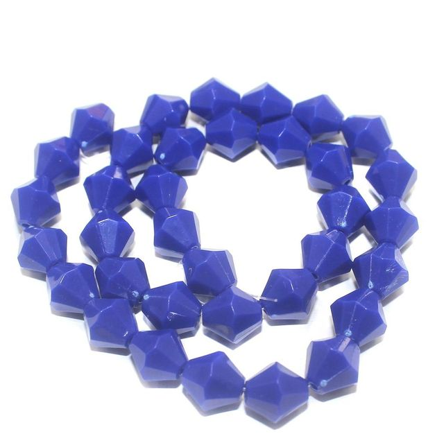 70 Acrylic Neon Faceted Bicon Beads Dark Blue 12mm