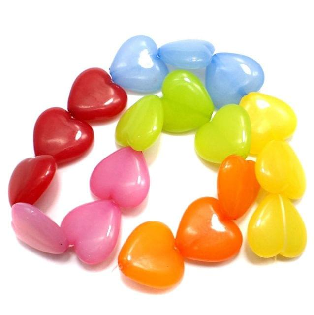 35 Acrylic Heart Beads Assorted 22x20 mm
