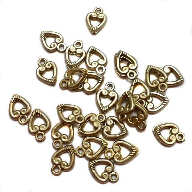 1200+ Acrylic Heart Charms Beads Golden 10x7 mm