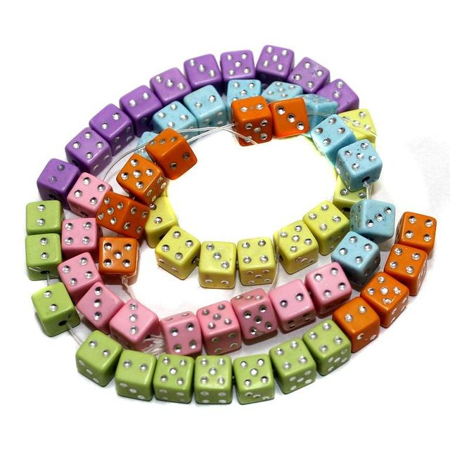 2 Strings Acrylic Cube Beads Assorted 6mm
