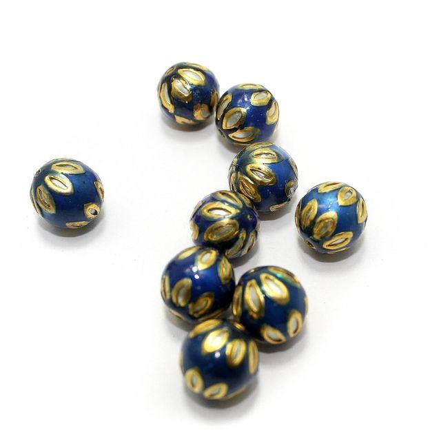 10 Meenakari Round Beads Blue 13mm