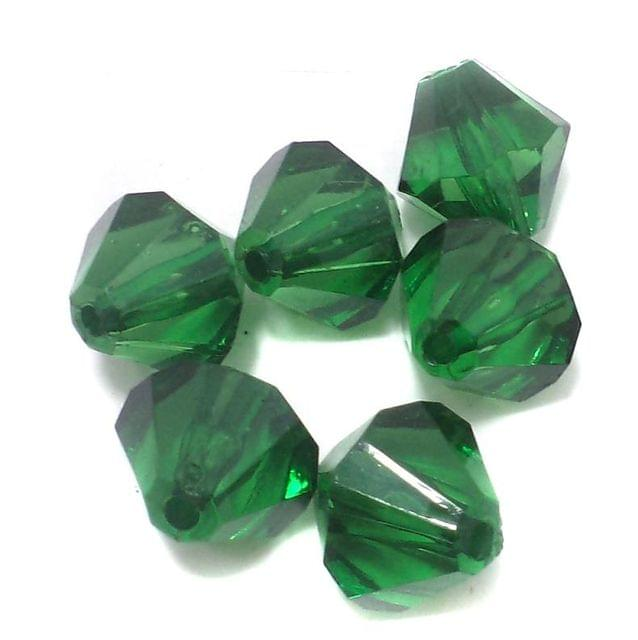50 Pcs. Acrylic Faceted Crystal Bicone Beads Trans Green 18mm