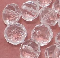 200 Pcs. Acrylic Faceted Crystal Rondelle Beads Trans White 10x8mm