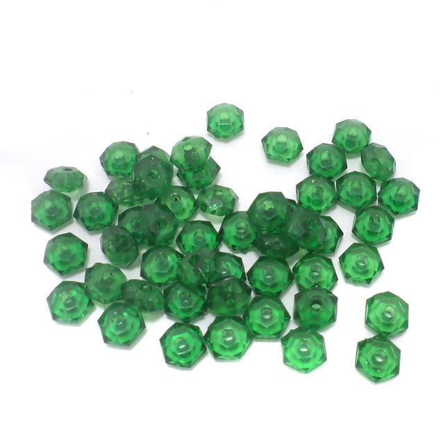 500 Pcs. Acrylic Faceted Crystal Rondelle Beads Trans Green 7x4mm
