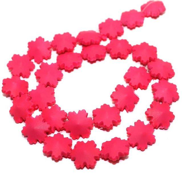 50 Neon Acrylic Flower Beads Hot Pink 15mm