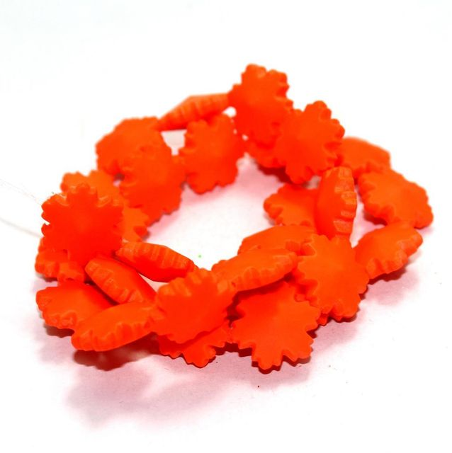 50 Neon Acrylic Flower Beads Orange 15mm