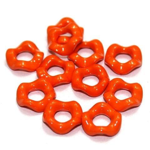 100 Acrylic Ring Beads Orange 15mm