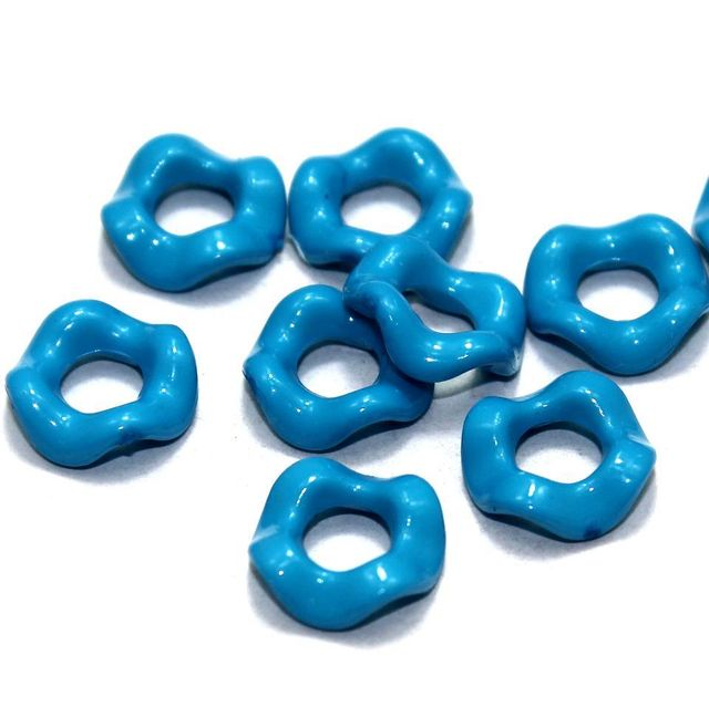 100 Acrylic Ring Beads Turquoise 15mm