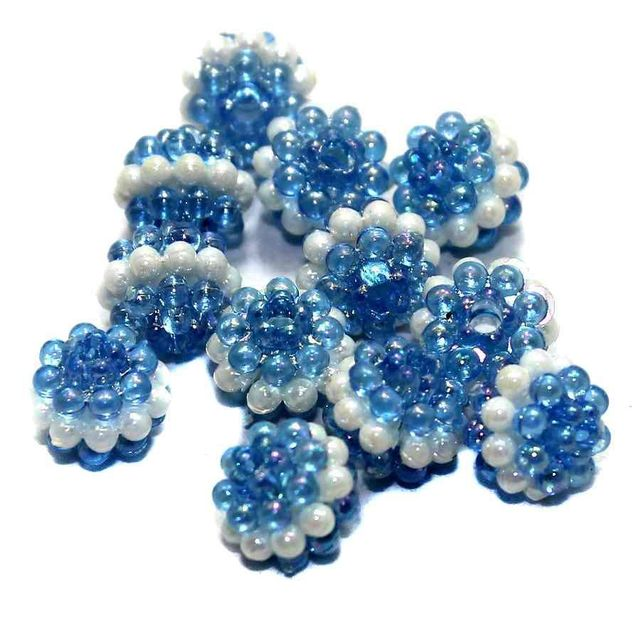 100 Acrylic Round Beads Blue 10mm
