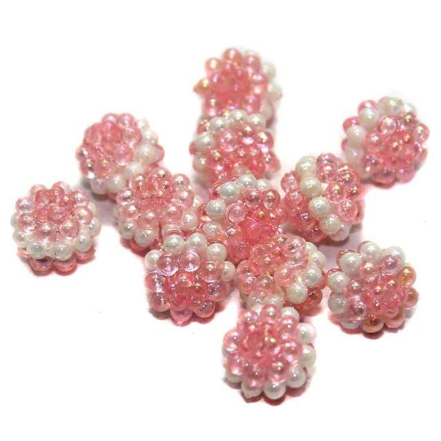 100 Acrylic Round Beads Pink 10mm