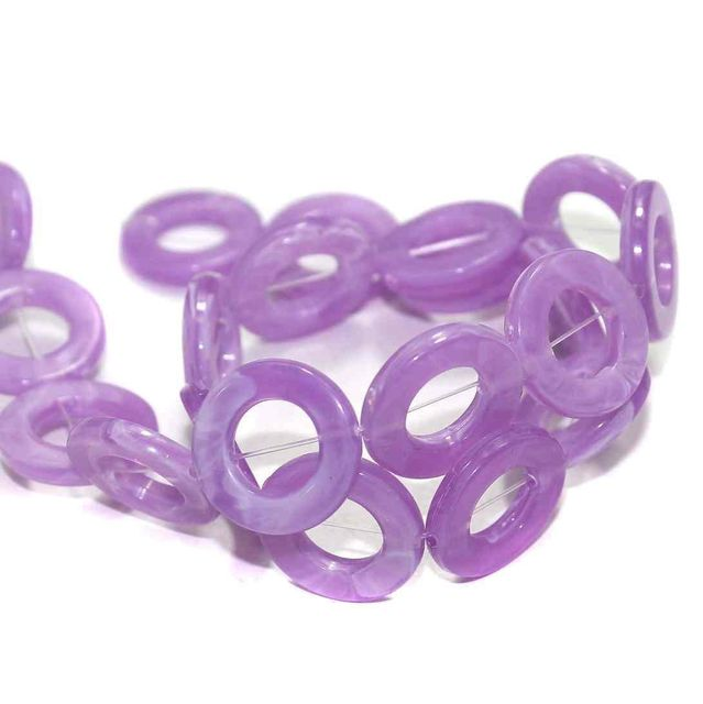 4 Strings Acrylic Ring Beads Purple 20mm