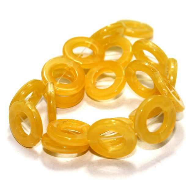 2 Strings Acrylic Ring Beads Yellow 20mm