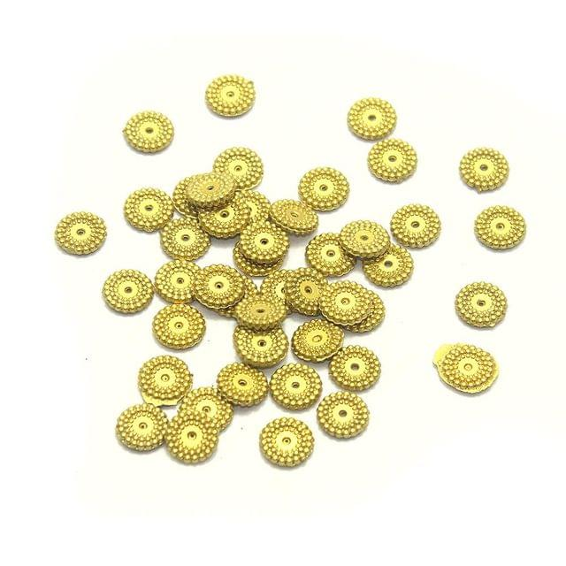 640+ Acrylic Disc Beads Golden Finish 10mm