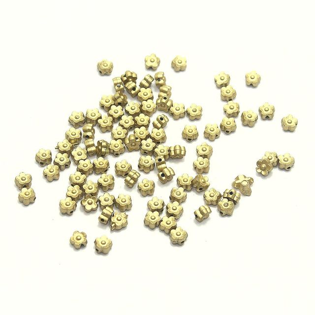 820+ Acrylic Flower Beads Golden Finish 6mm