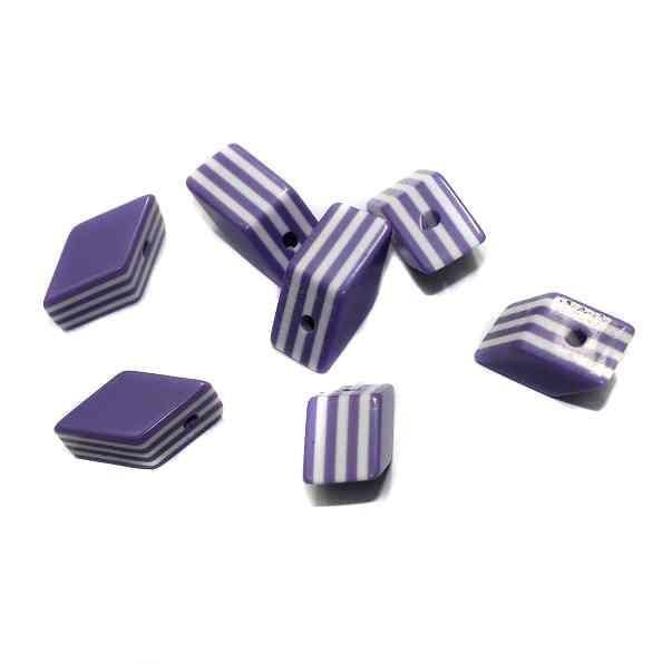 100 Acrylic Polymer Beads Diamond Purple 20x10mm