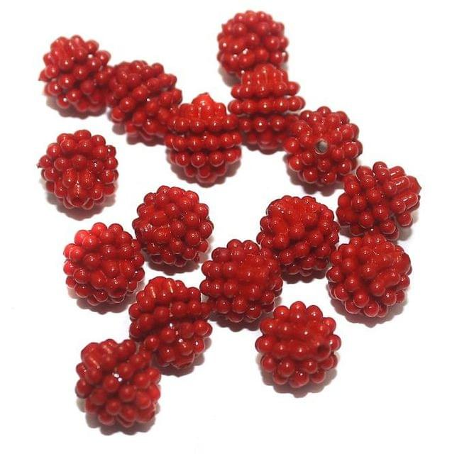 50 Acrylic Round Beads Red 10mm