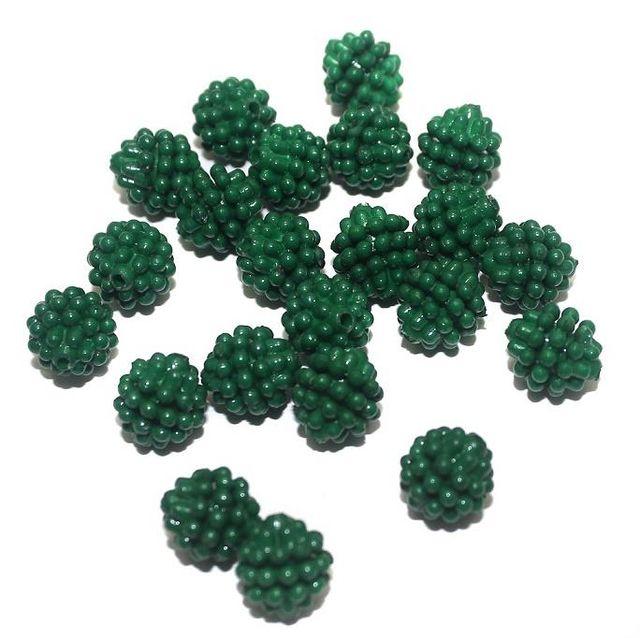 50 Acrylic Round Beads Green 10mm