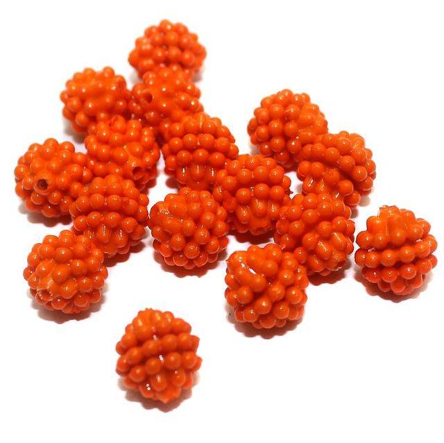 50 Acrylic Round Beads Orange 10mm