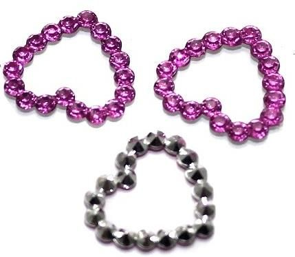 100 Acrylic Chatons Beads Heart 14mm