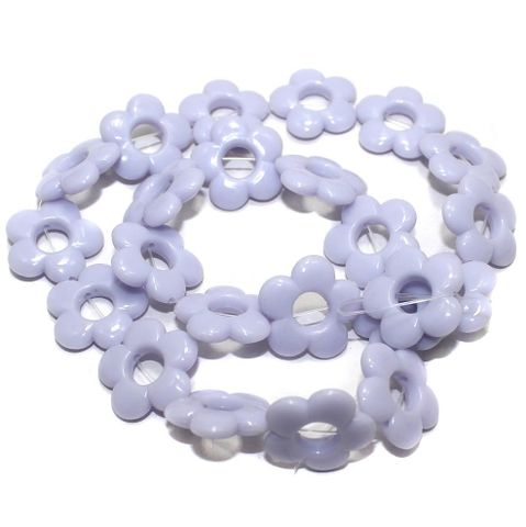 40+ Acrylic Flower Beads Purple 18mm