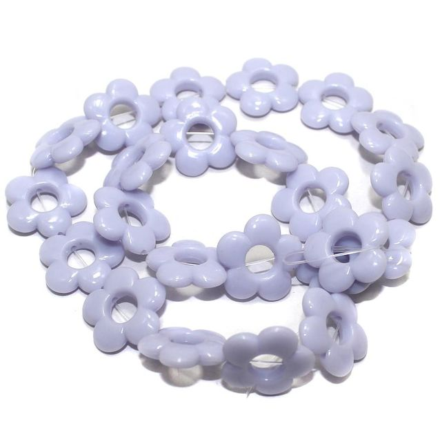 40+ Acrylic Flower Beads Purple 18mm