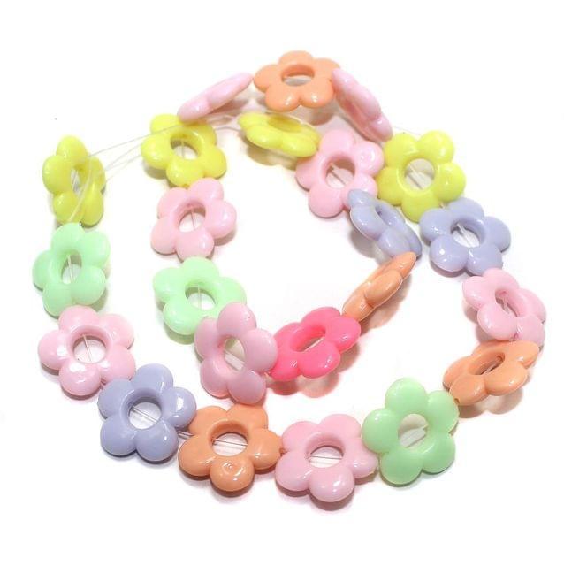 40+ Acrylic Flower Beads Assorted 18mm
