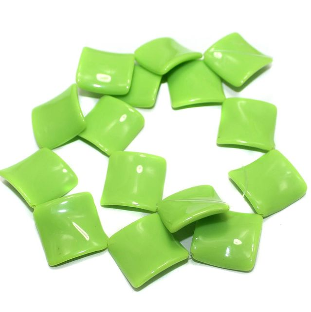 2 Strings Acrylic Neon Flat Rectangle Beads Pridot 22mm