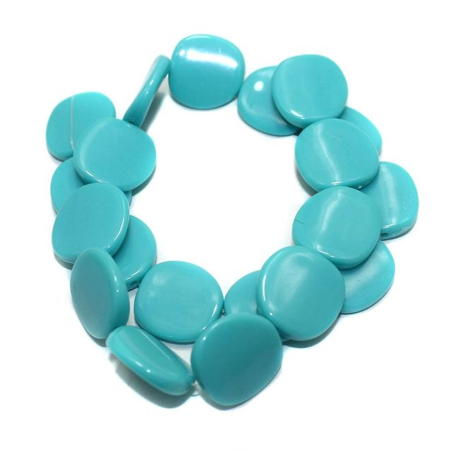 2 Strings Acrylic Neon Flat Disc Beads Turquoise 20mm
