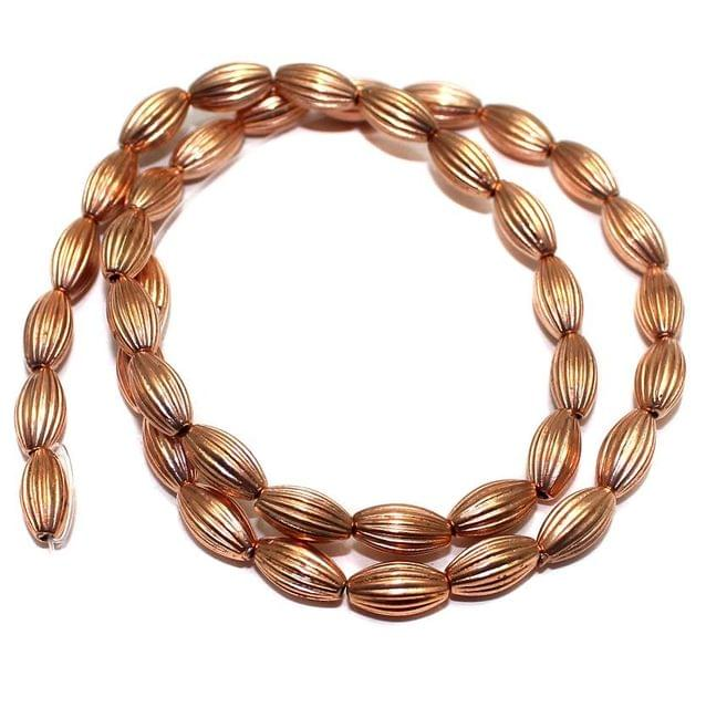 4 Strings Acrylic Oval Liner Beads Copper 11x5mm