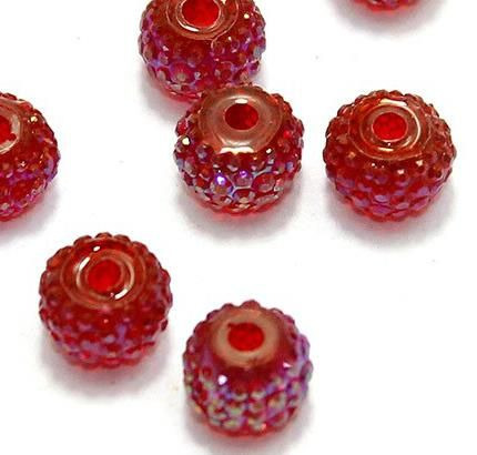 50 Sugar Coated Acrylic Beads Red 6mm
