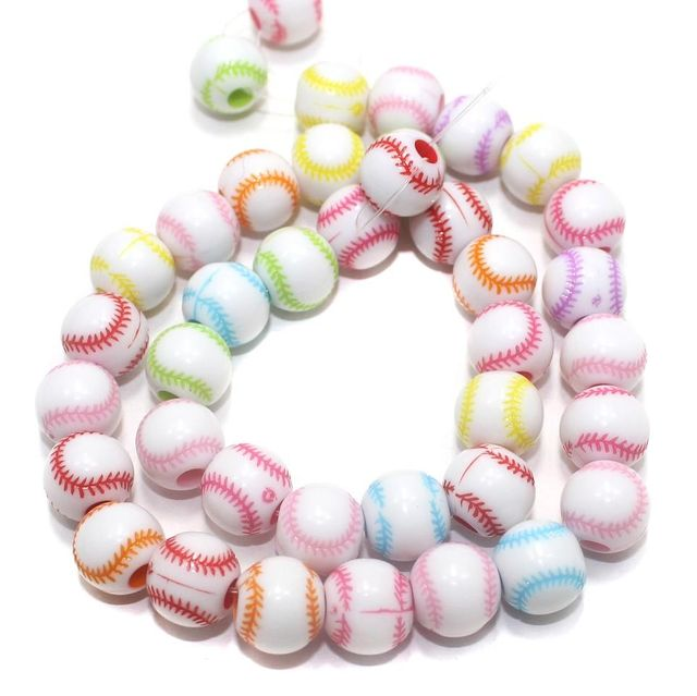 70+ Acrylic Round Beads Assorted 10mm