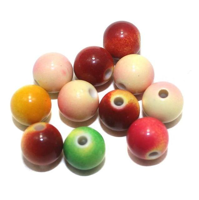 100 Acrylic Round Beads Assorted 8mm