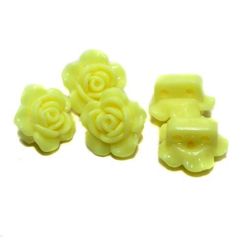 40 Acrylic Rose Flower Beads Yellow 18mm