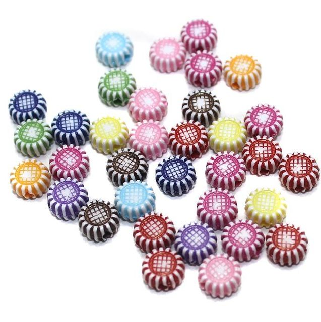 200 Acrylic Flat Round Beads Assorted 6mm