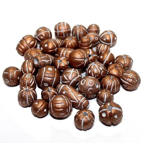 50 Clay Beads Assorted Copper 12-30mm