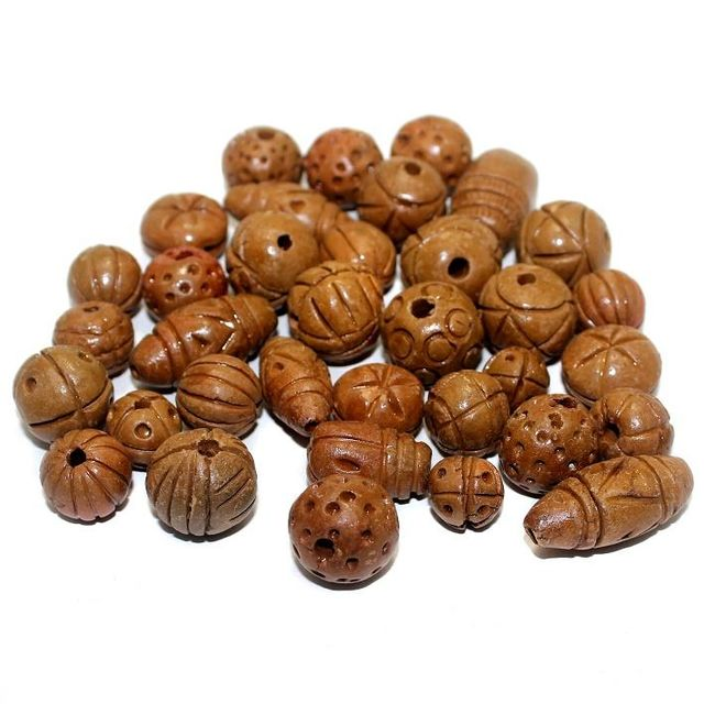 50 Clay Beads Assorted Coffee 12-30mm