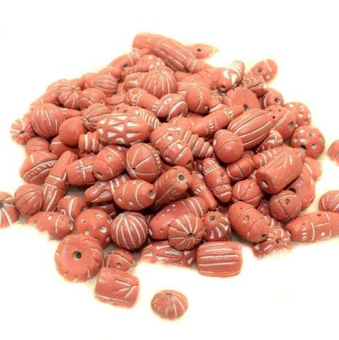 50 Clay Beads Assorted Pink 12-30mm