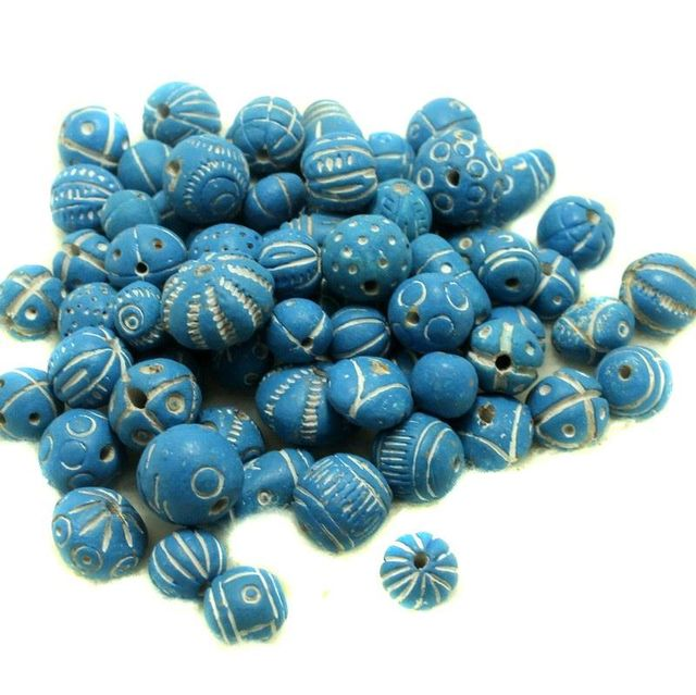 50 Clay Beads Assorted Turquoise 12-30mm