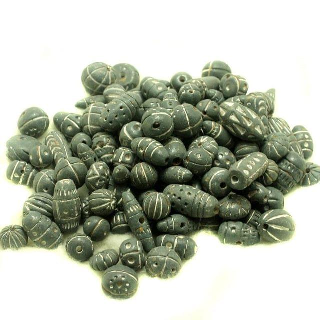 50 Clay Beads Assorted Gray 12-30mm