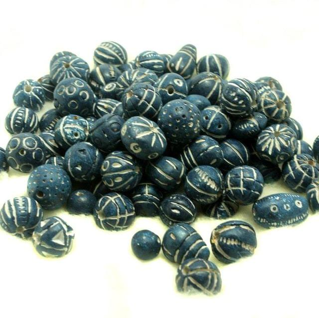 50 Clay Beads Assorted Blue 12-30mm