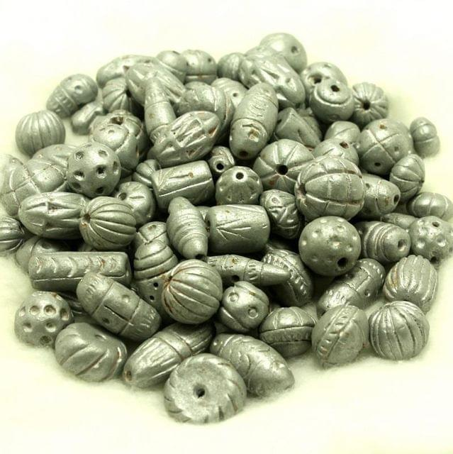 50 Clay Beads Assorted Silver 12-30mm