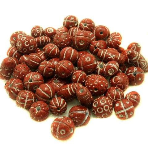 50 Clay Beads Assorted Red 12-30mm