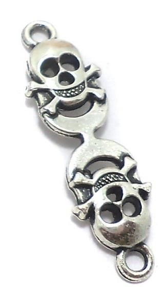 30 Pcs. German Silver Skull Crossbones Connectors 35x10 mm