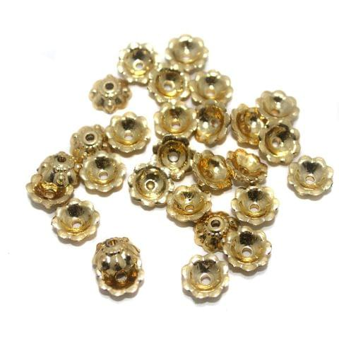 Jewellery Making Acrylic Bead Caps Golden, Size 10x4mm , Pack Of 50 Gm