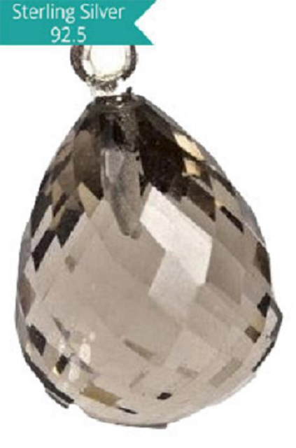 Sterling Silver with Smoky Topaz Faceted Charm