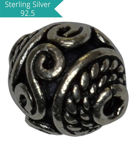 Sterling Silver Cylinder Shape Bead